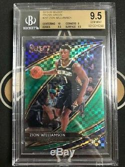 ZION WILLIAMSON 2019-20 Select #297 Courtside Green Prizm #1/5 BGS 9.5 GEM MINT