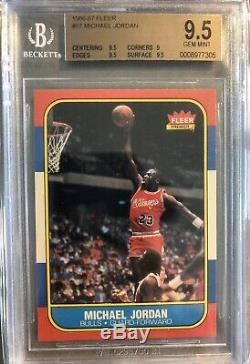 1986-1987 Fleer Basketball # 57 Michael Jordan Bulls Rc Rookie Hof Bgs 9.5 Gem Mint