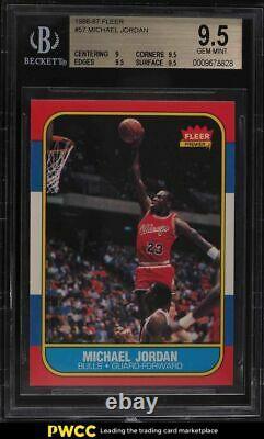 1986 Basketball De Fleer Michael Jordan Rookie Rc #57 Bgs 9.5 Gem Mint