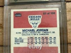 1986 Fleer #57 Michael Jordan Rc #57 Gem Mint Chicago Bulls Bgs 9,5
