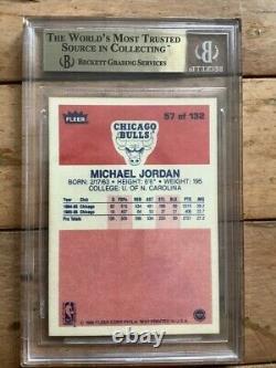 1986 Fleer #57 Michael Jordan Rc #57 High Fin Gem Mint Chicago Bulls Bgs 9.5