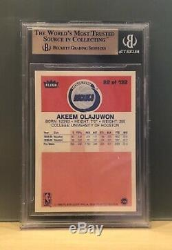 1986 Fleer # 82 Hakeem Olajuwon Rookie Bgs 9,5 Quad 9,5 Akeem Gem Mint Psa 10