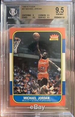 1986 Fleer Basketball # 57 Michael Jordan Bulls Rc Rookie Hof Bgs 9.5 Gem Mint
