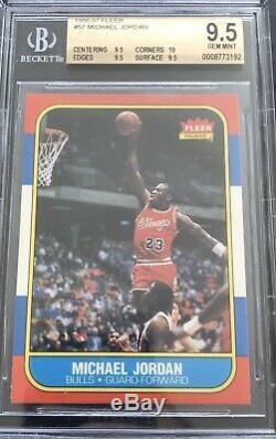 1986 Fleer Basketball Jordan Recrue Rc # 57 Bgs 9.5 Gem Mint Pristine