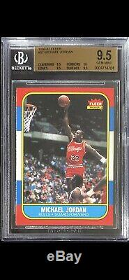 1986 Fleer Basketball Michael Jordan Recrue Rc # 57 Bgs 9.5 True Gem Mint Avec 10