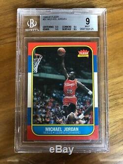 1986 Fleer Michael Jordan Bgs 9 (9.5x3) Mint. 5 Loin Gem Mint