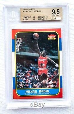1986 Fleer Michael Jordan Rc Bgs 9,5 Gem Mint ++ ++ Dead Centré Psa 10 Crossover