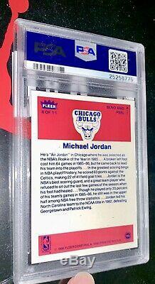 1986 Michael Jordan Fleer Rookie Autocollant Rc Psa 10 Gem Mint (centré) Bgs
