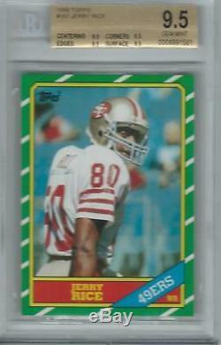 1986 Topps Football Jerry Rice Rookie Rc # 161 Bgs 9.5 Gem Mint Quad 9.5's