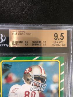 1986 Topps Jerry Rice Carte De Rookie # 161 Bgs 9.5 Gem Mint Quad 9.5's