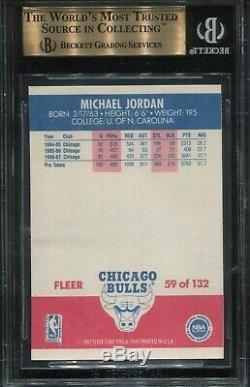 1987 Fleer Basketball # 59 Michael Jordan Bgs 9,5 Gem Mint (psa 10) Hof 2e Année