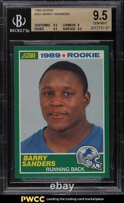 1989 Score Football Barry Sanders Rookie Rc #257 Bgs 9.5 Gem Mint