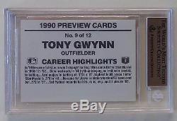 1990 Donruss Previews # 9 Tony Gwynn Extrêmement Rare Bgs 9.5 Gem Mint