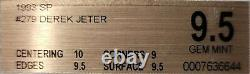 1993 Sp Foil Derek Jeter Rookie Rc #279 Bgs 9.5 Gem Mint 10 Investissement