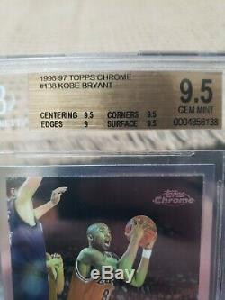 1996-1997 Chrome # 138 Topps Kobe Bryant Rc Rookie Bgs 9.5! Gem Mint! Centré