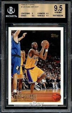 1996 Basketball Kobe Bryant Topps Recrue Rc # 138 Bgs 9.5 Gem Mint