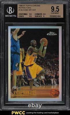 1996 Topps Chrome Réfractaire Kobe Bryant Rookie Rc #138 Bgs 9.5 Gem Mint