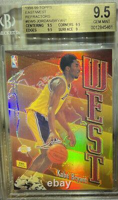 1998-1999 Topps Michael Jordan Kobe Bryant Refractors Est Ouest Bgs 9.5 Menthe Gemme