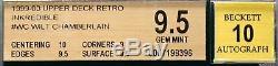 1999-1900 Wilt Chamberlain Upper Deck Retro Auto Incredible Bgs 9,5 Gem Mint