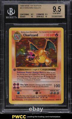 1999 Base Pokemon 1ère Édition Holo Charizard Sans Ombre #4 Bgs 9.5 Gem Mint
