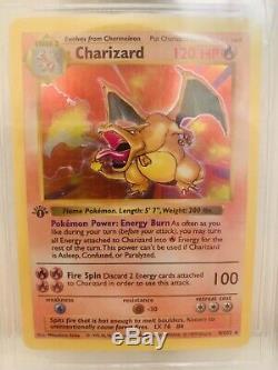 1999 Jeu Pokemon 1ère Edition Holographique Charizard 4/102 Bgs Gem Mint 9.5 Rare