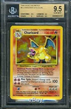 1999 Pokemon 4/102 Hologramme Hologramme Aluminium Charizard Beckett Bgs 9.5 Menthe Rare