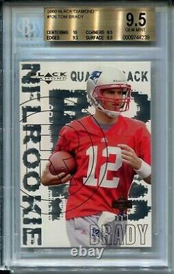 2000 Black Diamond Football 126 Tom Brady Rookie Card Rc Classé Bgs Gem Mint 9,5