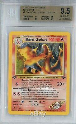 2000 Pokemon Gym Défi 1ère Édition Blaine Charizard Holo Bgs 9,5 Gem Mint