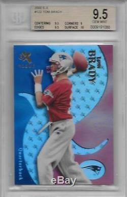 2000 Tom Brady Fleer E-x Rc - Gradué Bgs 9,5 Gem Mint Avec 10 Sub. Seulement 1500 Fabriqués