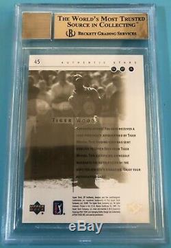 2001 Sp Authentique # 45 Tiger Woods Golf Recrue Rc Auto / 100 Gold Bgs 9.5 Gem Mint