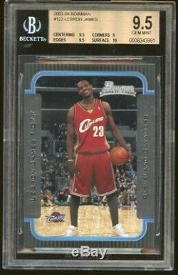 2003 Bowman Lebron James Rookie Rc Bgs 9,5 Gem Mint Avec 10 Sous