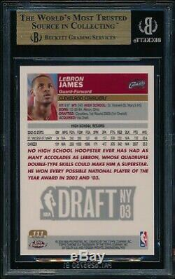 2003 Chrome Lebron James Topps # 111 Refractor Rookie Card Bgs 9,5 Gem Mint