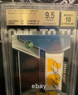 2007 Sp Threads Kevin Durant Rookie Rc Patch Auto /199 Bgs 9,5 Gem Mint 1/1 Ebay