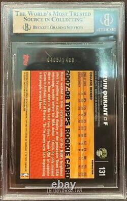 2007 Topps Chrome Refracteur Kevin Durant Rookie Rc /1499 #131 Bgs 9.5 Gem Mint