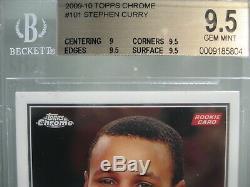 2009-10 Chrome # 101 Topps Stephen Curry Rookie Rc / 999 Bgs 9,5 Gem Mint