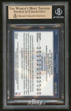 2009-10 Chrome Réfracteurs # Topps 101 Stephen Curry 464/500 Bgs 9,5 Gem Mint