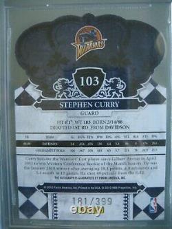 2009-10 Crown Royale # 103 Stephen Curry Rookie 399 Rc / Bgs 9,5 Gem Mint Auto 10