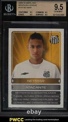 2009 Abril Gol Ligue Brésilienne Neymar Rookie Rc #154 Bgs 9.5 Gem Mint