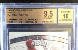 2009 Mike Bowman Trout Perspectives Sterling Auto Rc. Bgs 9.5 Mint Gem Avec 10 Sous