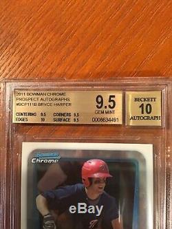 2011 Autographs Prospect Chrome Bowman Bryce Harper Bgs 9,5 Gem Mint / 10 Auto