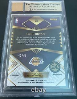 2016-17 Sélectionnez Prizms Orange Kobe Bryant Oncard Auto /60 Bgs Gem Mint 9.5 Lakers