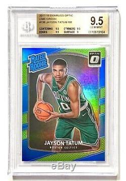 2017-18 Donruss Optique Jayson Tatum / 175 Lime Green Prizm Rookie Bgs 9,5 Gem Mint