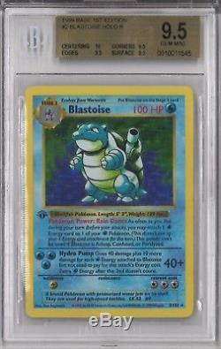 Bgs 9.5 Avec 10 Blastoise 1999 Base Pokémon 1ère Édition # 2 Holo Shadowless Gem Mint
