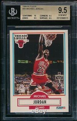 Bgs 9.5 Avec 10 Michael Jordan 1990-91 90-91 Fleer # 26 Chicago Bulls True Gem Mint +