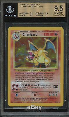 Bgs 9.5 Charizard 1999 Base Pokemon # 4/102 Holo Rare (psa 10 Puissant) Gem Menthe