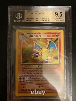 Bgs 9.5 Gem Menthe. 1999 Pokémon Base Unlimited Charizard Holo 4/102 Psa 10