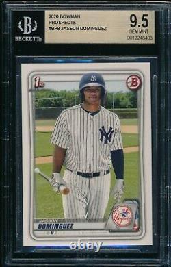 Bgs 9.5 Jasson Dominguez 2020 Bowman Paper Yankees Top Rookie Card Rc Gem Mint