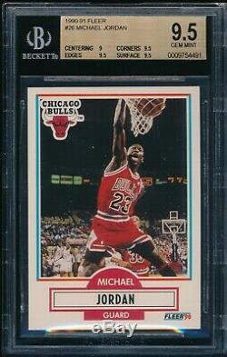 Bgs 9.5 Michael Jordan 1990-91 90-91 Fleer # 26 Goat Chicago Bulls Hof Gem Mint