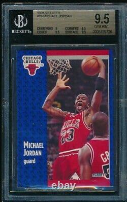 Bgs 9.5 Michael Jordan 1991-1992 91-92 Fleer # 29 Chicago Bulls Rare Goat Gem Mint