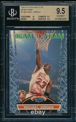 Bgs 9.5 Michael Jordan 1992-93 Stadium Club Beam Team Bulls Goat True Gem Mint